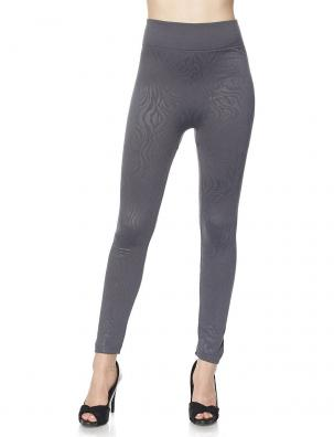 Fleece Lined Leggings - Ankle Length Embossed