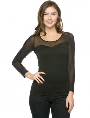 Seamless Mesh Jacquard Long Sleeve Top 17B