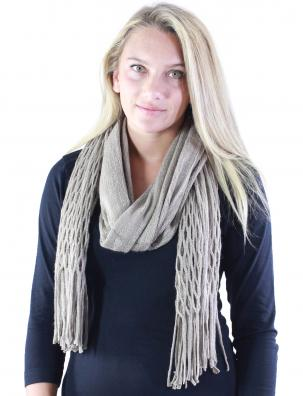 C Oblong Scarves - Two Way Knit Tube with Fishnet*