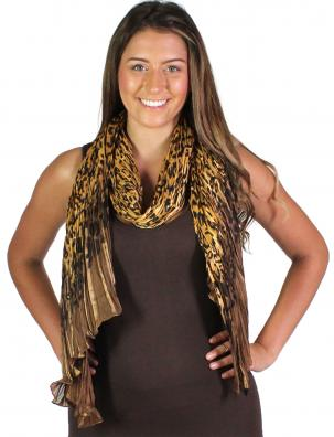 Oblong Scarves - Pleated Leopard 1003*