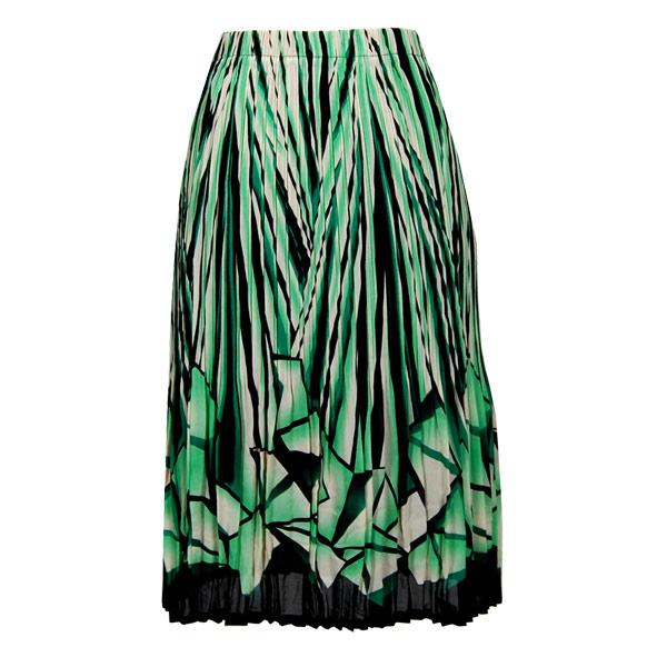 wholesale Skirts - Georgette Mini Pleat Calf Length* Prisms Green-Black - One Size (S-L)