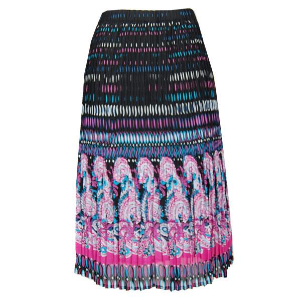 wholesale Skirts - Georgette Mini Pleat Calf Length* Paisley Border Pink-Blue - One Size (S-L)