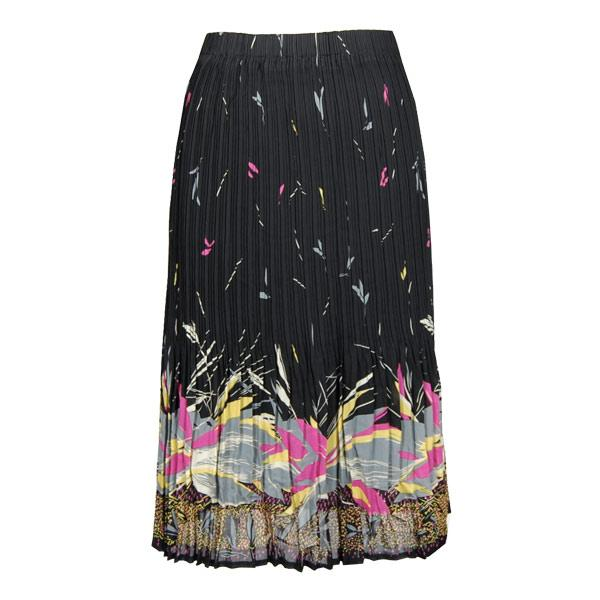 wholesale Skirts - Georgette Mini Pleat Calf Length* Print Border 2 Black-Gold-Grey - One Size (S-L)