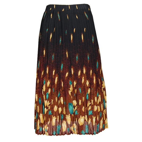 wholesale Skirts - Georgette Mini Pleat Calf Length* Tulips Black-Gold-Teal - One Size (S-L)