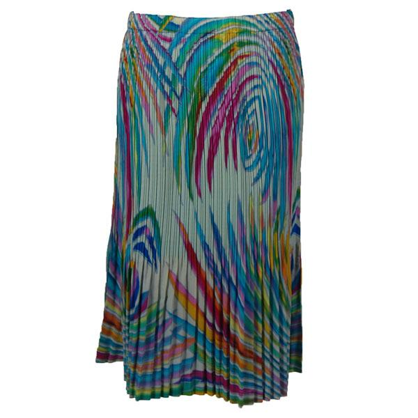 wholesale Skirts - Georgette Mini Pleat Calf Length* Rainbow Swirl on Ivory - One Size (S-L)