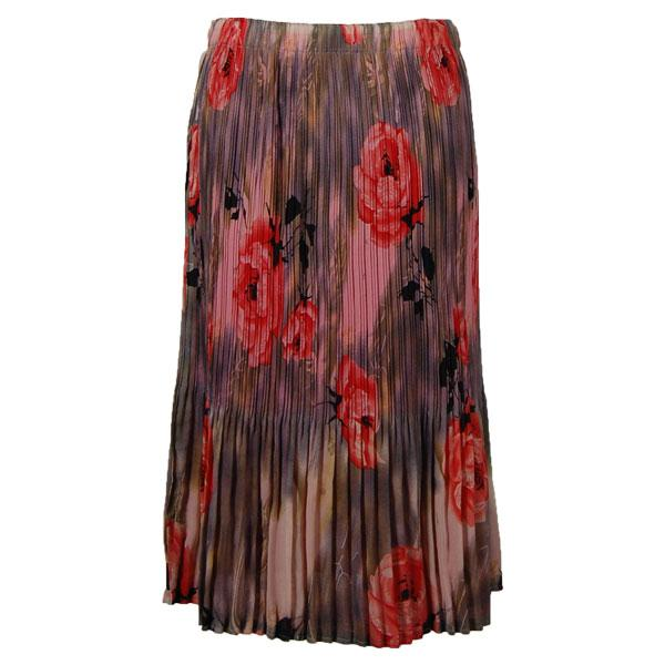 wholesale Skirts - Georgette Mini Pleat Calf Length* Roses Grey-Coral - One Size (S-L)
