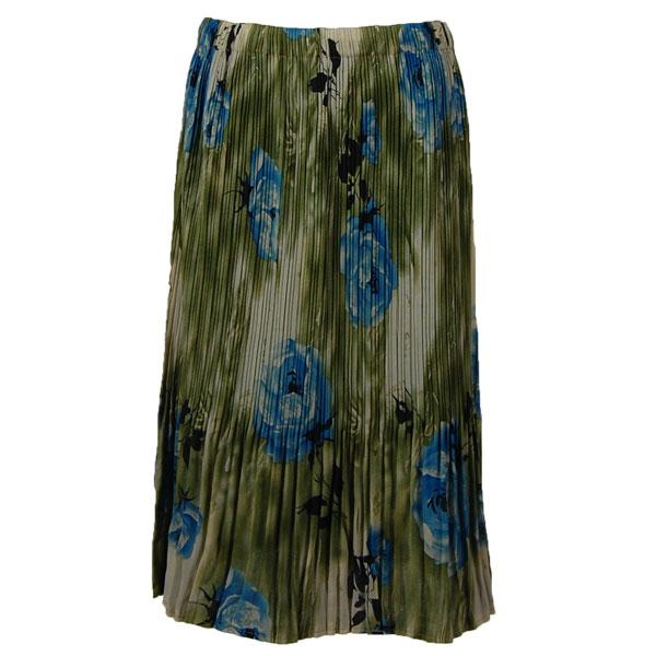 wholesale Skirts - Georgette Mini Pleat Calf Length* Roses Olive-Blue - One Size (S-L)