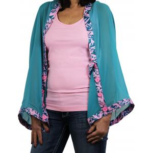 wholesale Button Scarves - Georgette Origami* Light Teal with Teal-Flamingo Trim -