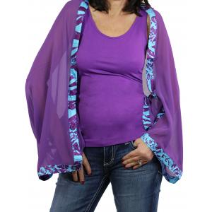 wholesale Button Scarves - Georgette Origami* Purple with Eggplant-Turquoise Trim -
