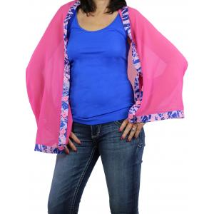 wholesale Button Scarves - Georgette Origami* Pink with Royal-Flamingo Trim -