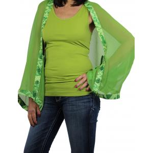 wholesale Button Scarves - Georgette Origami* Green with Emerald-Lime Trim -