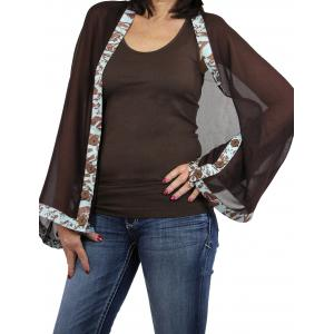 wholesale Button Scarves - Georgette Origami* Dark Brown with Brown-Robins Egg Blue Trim -