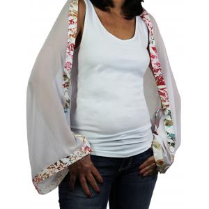 wholesale Button Scarves - Georgette Origami* White with Floral Print-White Trim -