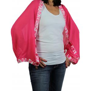 wholesale Button Scarves - Georgette Origami* Hot Pink with Pink-White Trim -