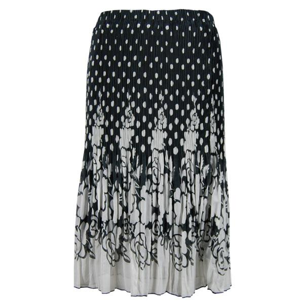 Skirts - Georgette Micro Pleat Calf Length * Dots Black-White - One Size (S-L)