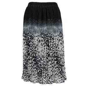 Skirts - Georgette Micro Pleat Calf Length * Leopard Border Black-Grey - One Size (S-L)