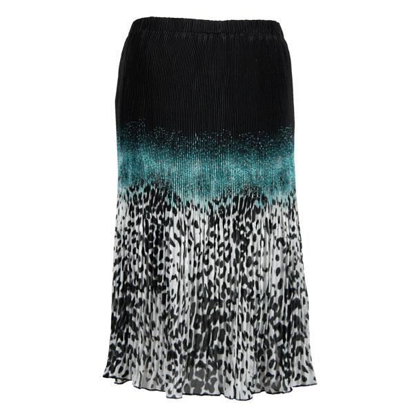 Skirts - Georgette Micro Pleat Calf Length * Leopard Border Black-Teal - One Size (S-L)