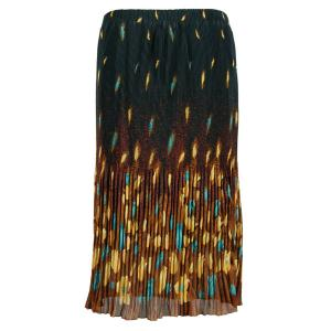 Skirts - Georgette Micro Pleat Calf Length * Tulips Black-Gold-Teal - One Size (S-L)