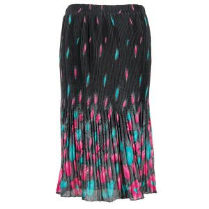 Skirts - Georgette Micro Pleat Calf Length * Tulips Black-Teal-Pink - One Size (S-L)