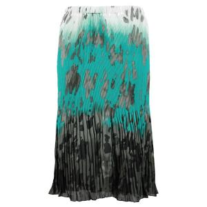 Skirts - Georgette Micro Pleat Calf Length * Spots Teal-Grey - One Size (S-L)