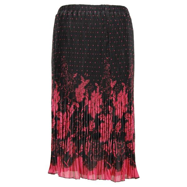 Skirts - Georgette Micro Pleat Calf Length * Flowers and Dots Black-Pink - One Size (S-L)