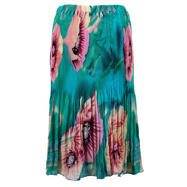 Skirts - Georgette Micro Pleat Calf Length * Poppies - Aqua - One Size (S-L)
