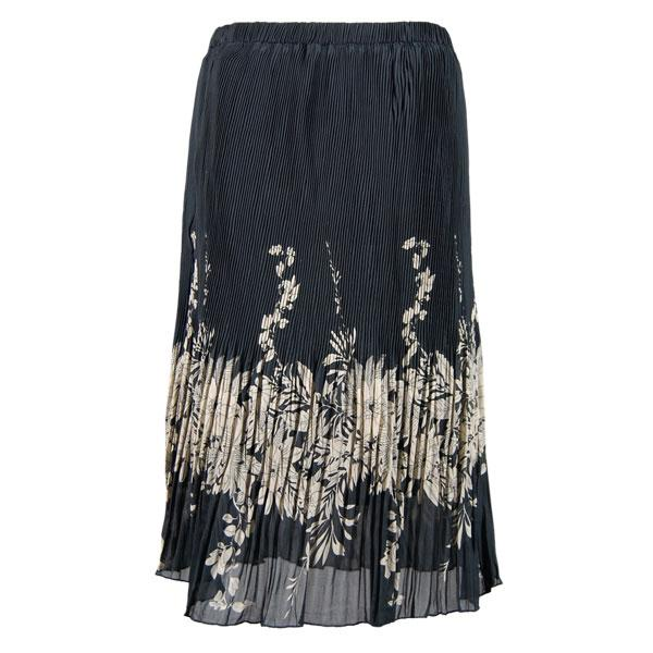 Skirts - Georgette Micro Pleat Calf Length * Ivory Floral on Black - One Size (S-L)