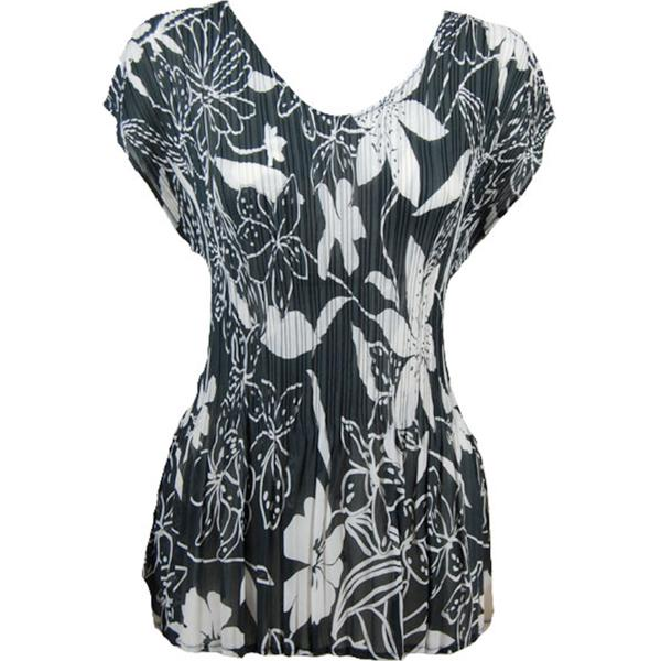Georgette Mini Pleats - Cap Sleeve V-Neck Floral - White on Black - One Size (S-XL)