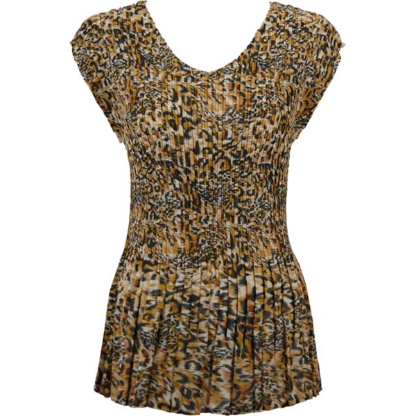 Georgette Mini Pleats - Cap Sleeve V-Neck Leopard Print - One Size (S-XL)