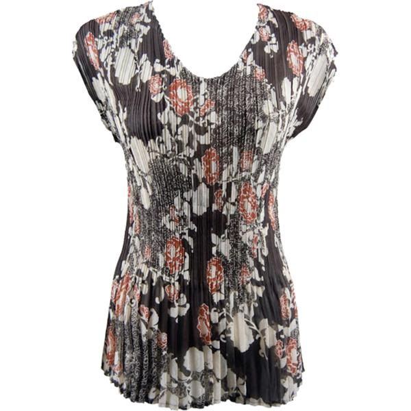 Georgette Mini Pleats - Cap Sleeve V-Neck Chocolate-Ivory Floral - One Size (S-XL)