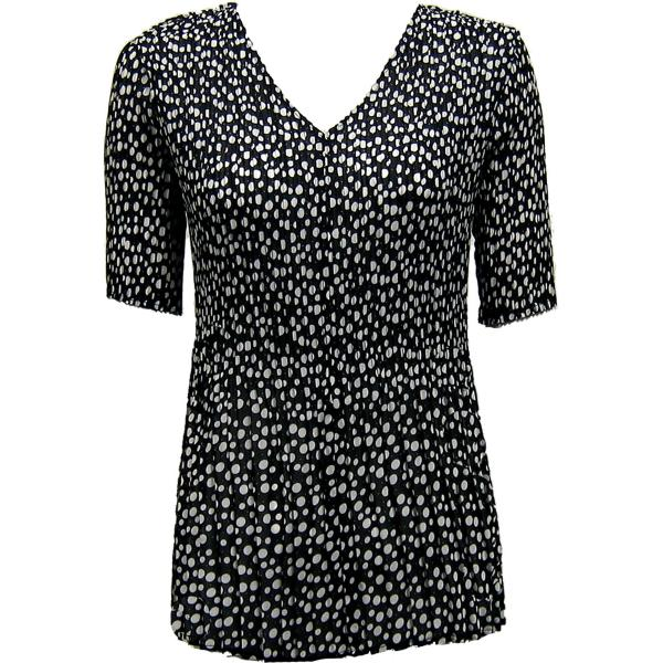 Georgette Mini Pleats - Half Sleeve V-Neck Polka Dot Black-White - One Size (S-XL)