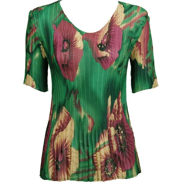 Georgette Mini Pleats - Half Sleeve V-Neck Poppies - Green - One Size (S-XL)