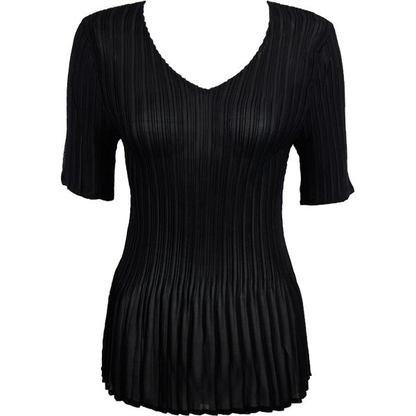 Georgette Mini Pleats - Half Sleeve V-Neck Solid Black - One Size (S-XL)