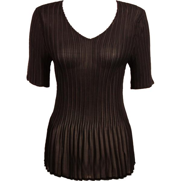Georgette Mini Pleats - Half Sleeve V-Neck Solid Dark Brown - One Size (S-XL)