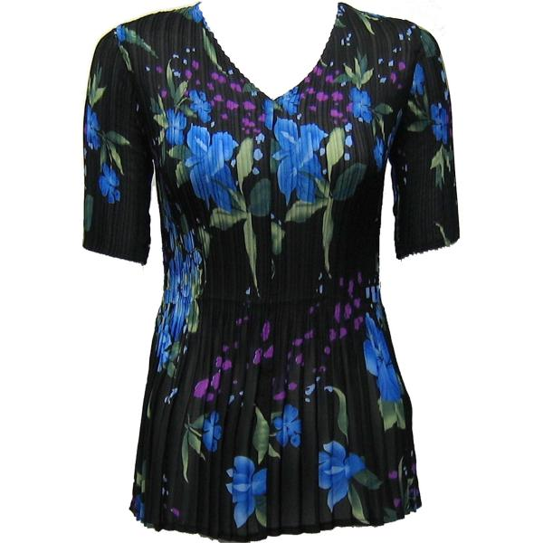 Georgette Mini Pleats - Half Sleeve V-Neck Black-Blue Floral - One Size (S-XL)