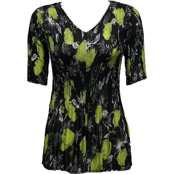 Georgette Mini Pleats - Half Sleeve V-Neck Black-Kiwi Floral - One Size (S-XL)