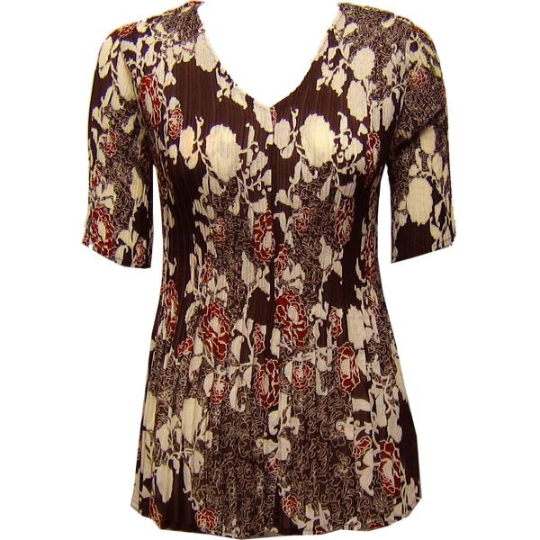 Georgette Mini Pleats - Half Sleeve V-Neck Chocolate-Ivory Floral - One Size (S-XL)