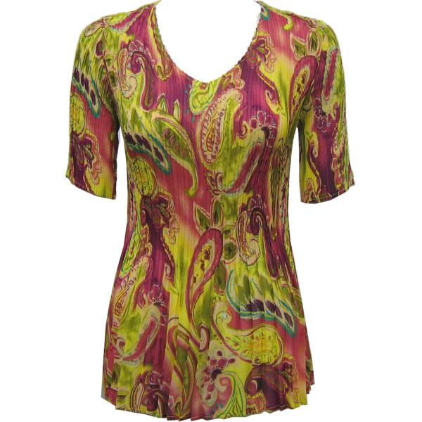 Georgette Mini Pleats - Half Sleeve V-Neck Pink-Lime Paisley - One Size (S-XL)