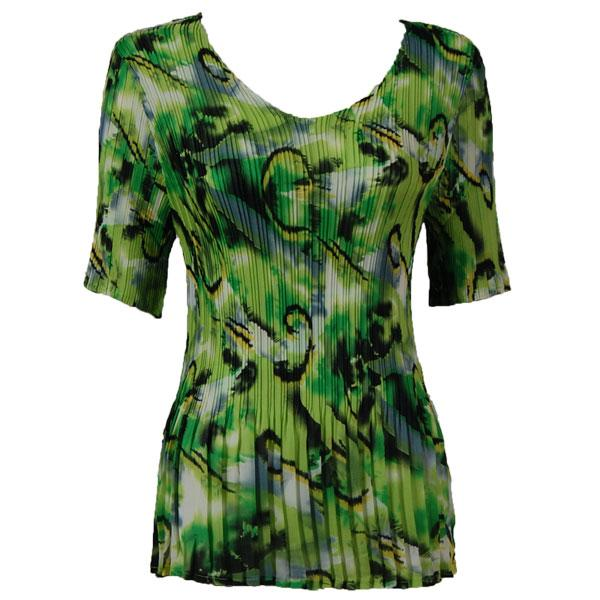Georgette Mini Pleats - Half Sleeve V-Neck Abstract Watercolors Lime-Black - One Size (S-XL)