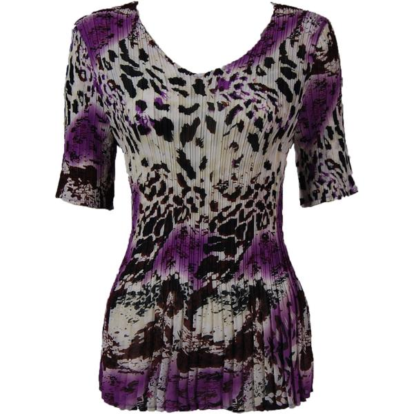 Georgette Mini Pleats - Half Sleeve V-Neck Reptile Floral - Purple - One Size (S-XL)