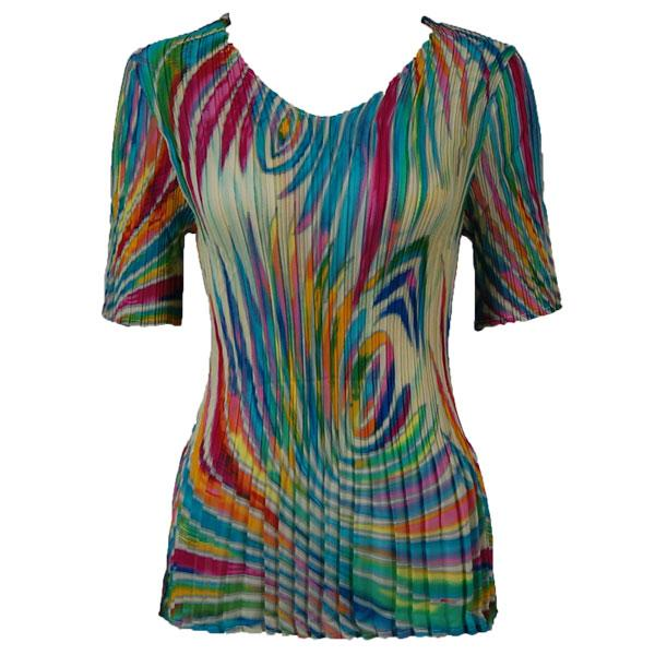 Georgette Mini Pleats - Half Sleeve V-Neck Rainbow Swirl on Ivory - One Size (S-XL)