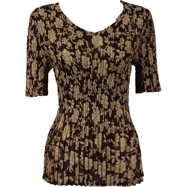Georgette Mini Pleats - Half Sleeve V-Neck Floral Brown-Ivory - One Size (S-XL)