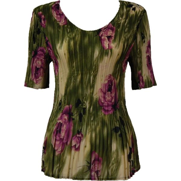 Georgette Mini Pleats - Half Sleeve V-Neck Roses Olive-Purple - One Size (S-XL)