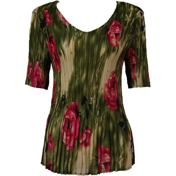 Georgette Mini Pleats - Half Sleeve V-Neck Roses Olive-Pink - One Size (S-XL)