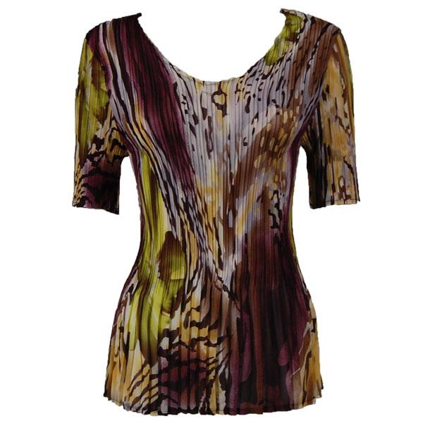 Georgette Mini Pleats - Half Sleeve V-Neck Abstract Floral - Eggplant-Gold - One Size (S-XL)