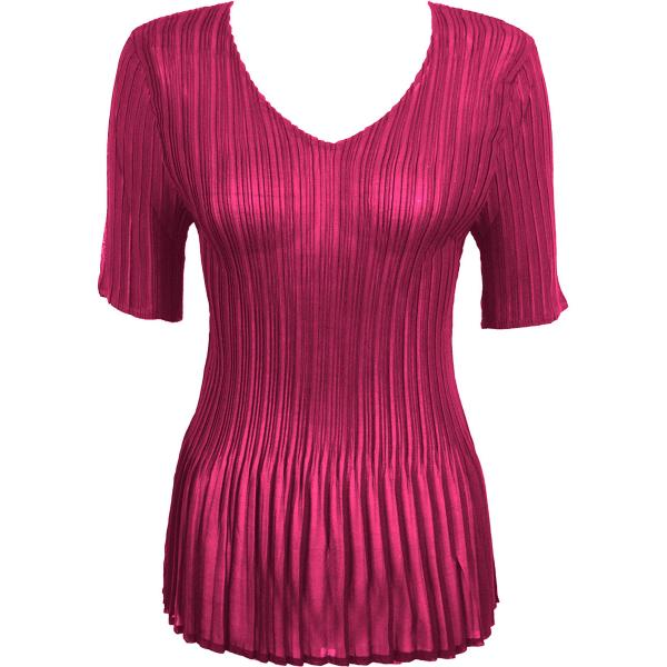 Georgette Mini Pleats - Half Sleeve V-Neck CHSS Solid Magenta MB - ONE SIZE FITS (S-L)