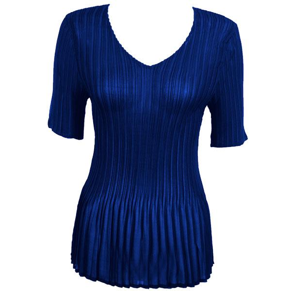 Georgette Mini Pleats - Half Sleeve V-Neck Solid Royal - One Size (S-XL)