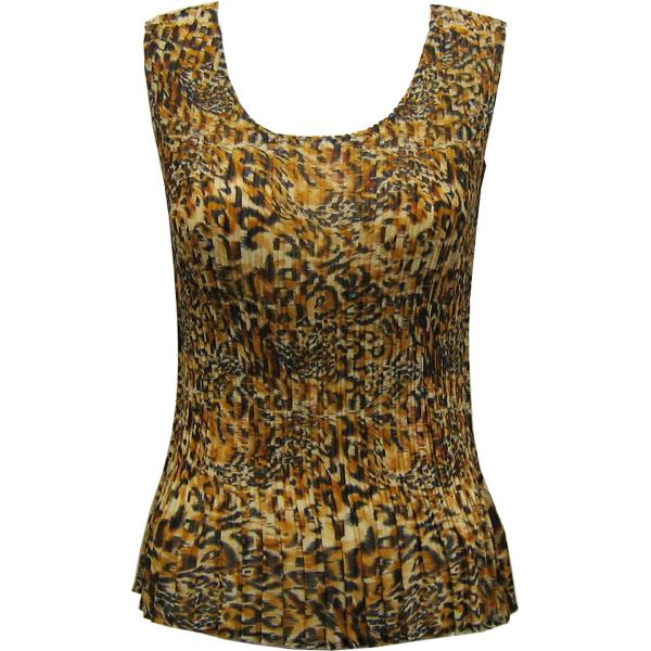 Georgette Mini Pleats - Sleeveless Leopard Print - ONE SIZE FITS (S-L)