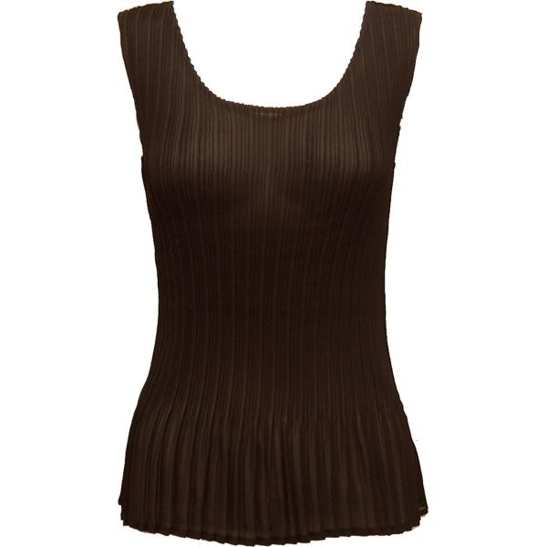 Georgette Mini Pleats - Sleeveless Solid Dark Brown - ONE SIZE FITS (S-L)