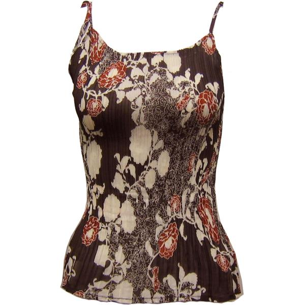 wholesale Georgette Mini Pleats - Spaghetti Tank Chocolate-Ivory Floral - One Size Fits (L-XL)